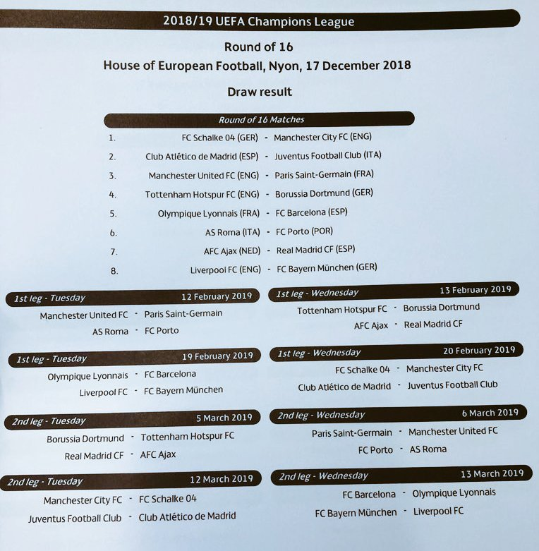 مواعيد مباريات اليوم: مواعيد مباريات ثمن نهائى دوري ابطال اوروبا 2019