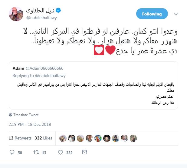 تعليق نبيل الحلفاوى