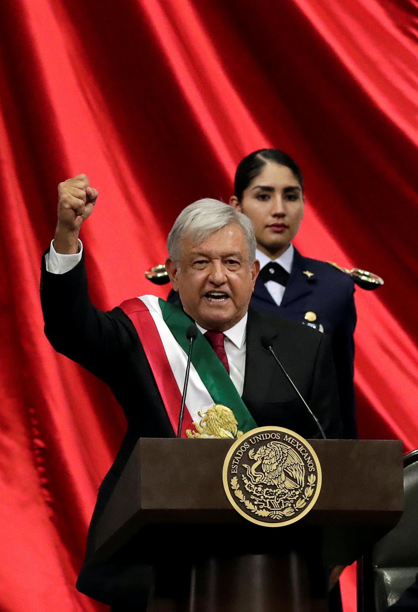 جانب من كلمة رئيس المكسيك الجديد