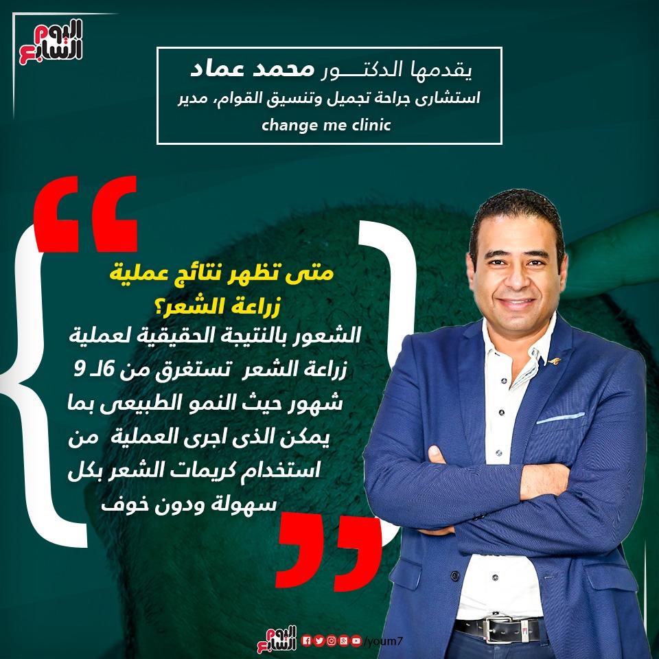 إنفوجراف دكتور محمد عماد يوضح وقت ظهور نتائج زراعة الشعر فى مصر