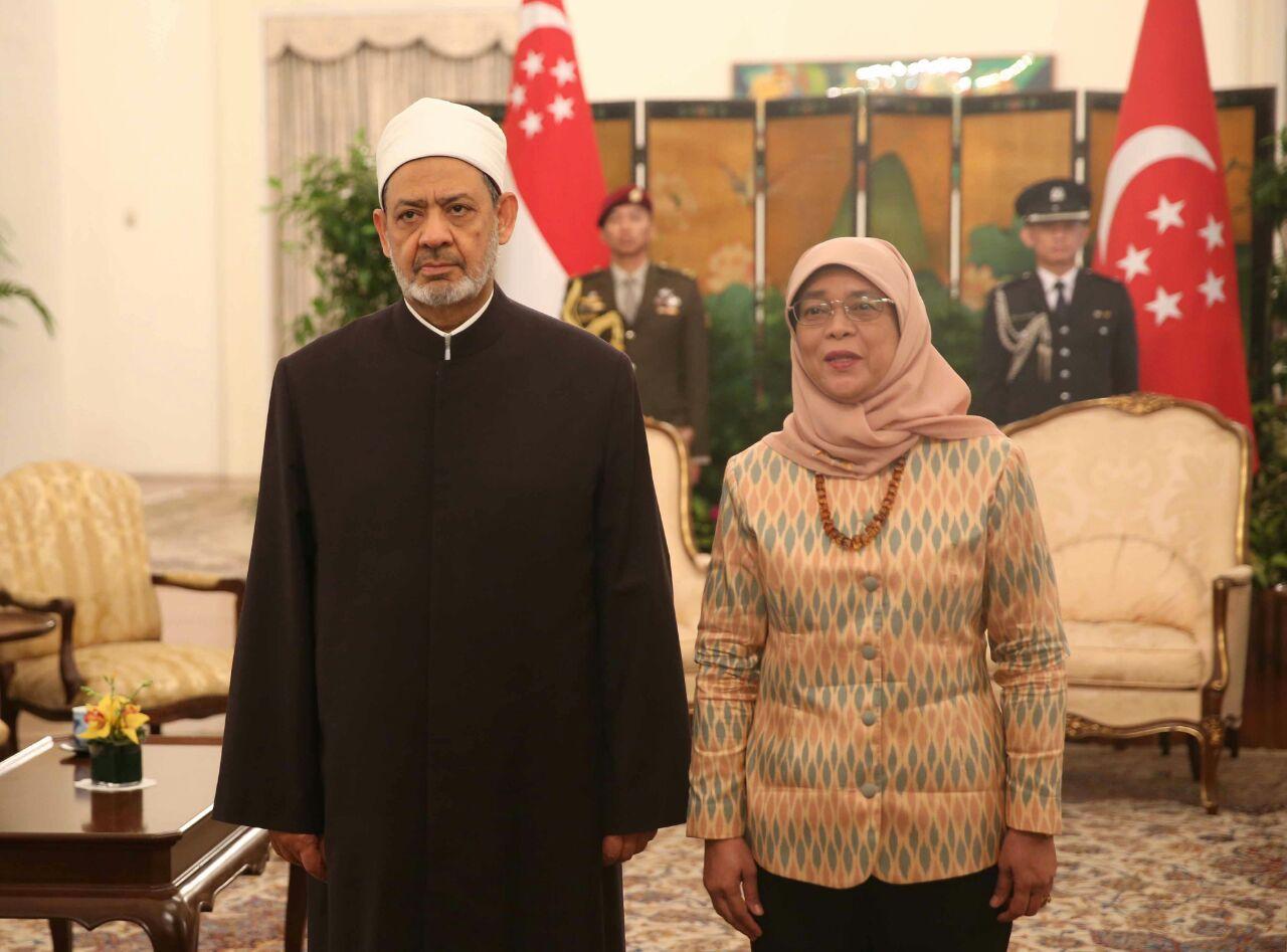 4- شيخ الازهر يلتقى رئيس سنغافورة