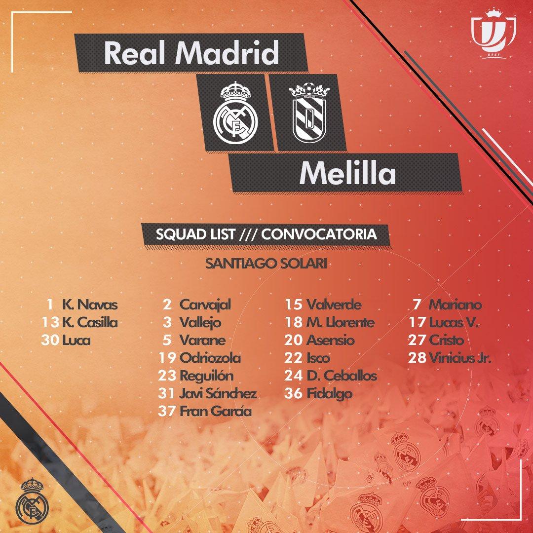 قائمة ريال مدريد لمباراة ميليا بكأس الملك