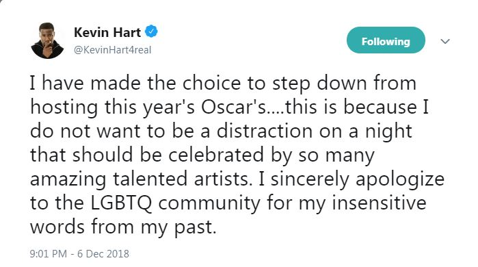 Kevin Hart apologizes for the Oscar ceremony