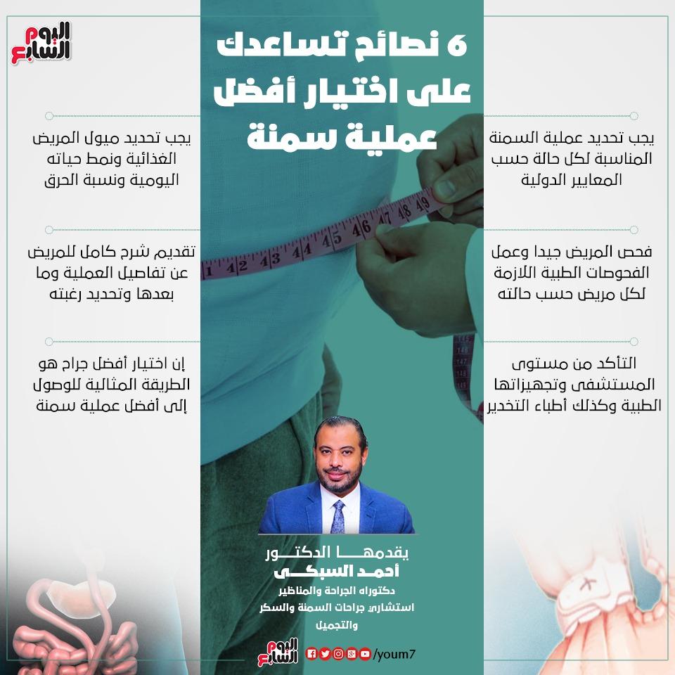 طبيب السمنة إنفوجراف دكتور أحمد السبكى يقدم نصائح طبية لاختيار أفضل جراح