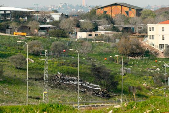 موقع سقوط الطائرة الإسرائيلية من طراز إف 16