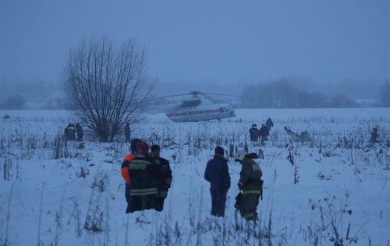 جانب من موقع تحطم الطائرة الروسية