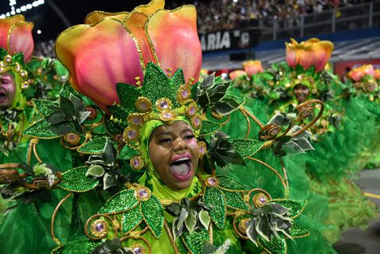 راقصات فى زى ورود خلال كرنفال السامبا بالبرازيل
