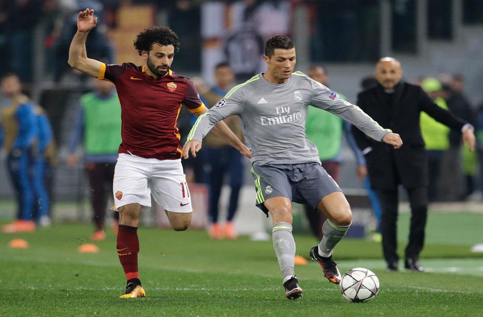 محمد صلاح بقميص روما فى مواجهة سابقة مع ريال مدريد