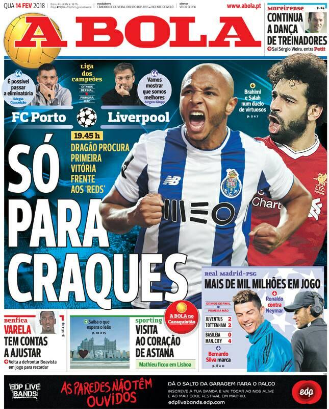 محمد صلاح وياسين براهيمى على غلاف صحيفة ابولا البرتغالية