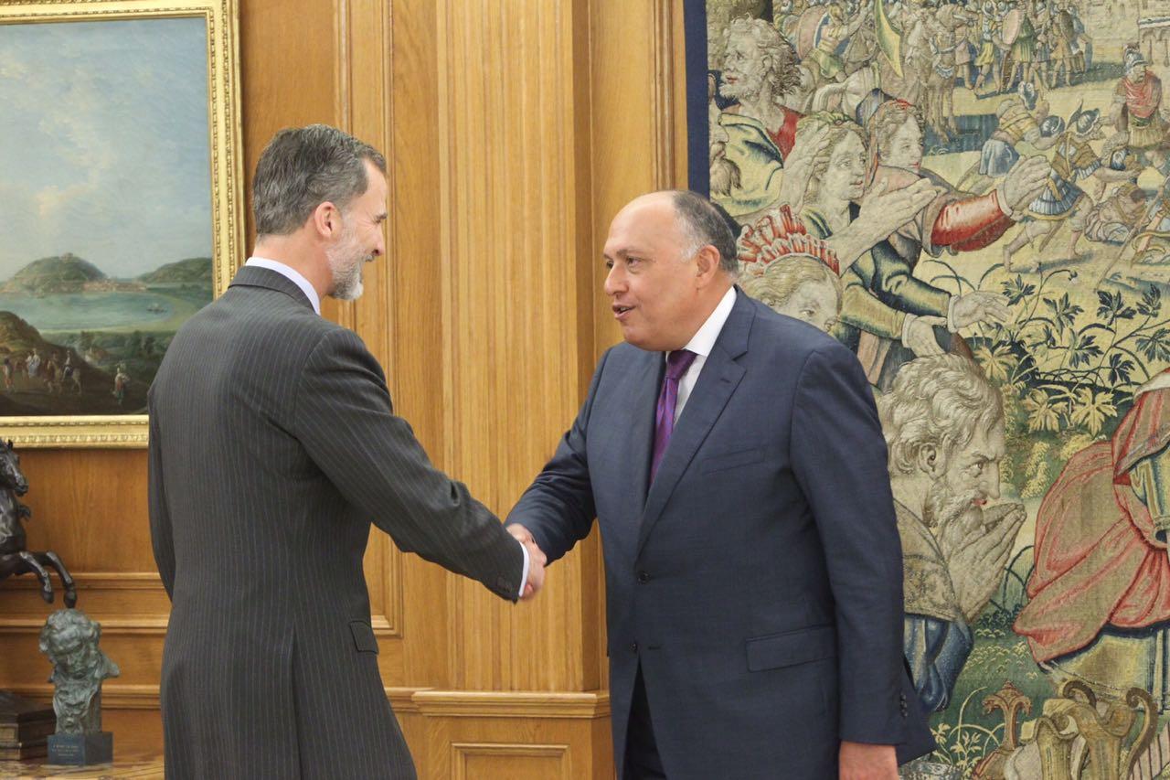 ملك اسبانيا يستقبل وزير الخارجية سامح شكرى