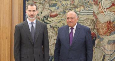 وزير الخارجية سامح شكرى وملك اسبانيا