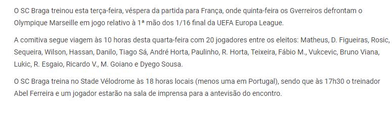 كوكا يزين قائمة سبورتنج براجا فى مباراة مارسيليا