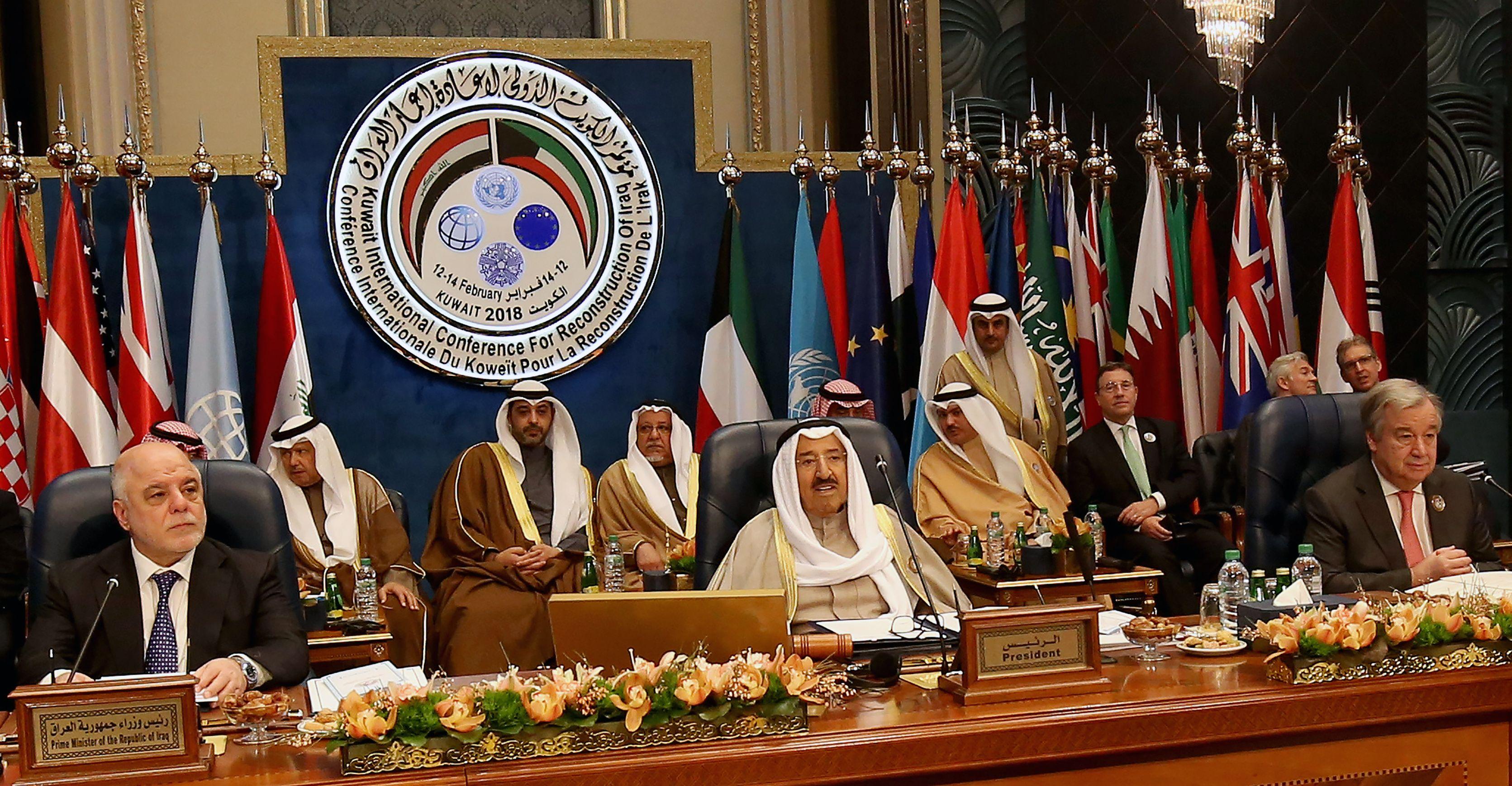 رئيس دولة الكويت وبجواره رئيس الوزراء العراقى