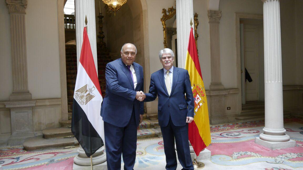 وزير الخارجية سامح شكرى خلال لقاء نظيره الإسبانى فى مدريد