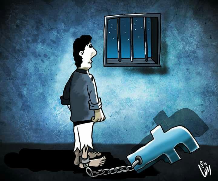 كاريكاتير سجناء العالم الافتراضى