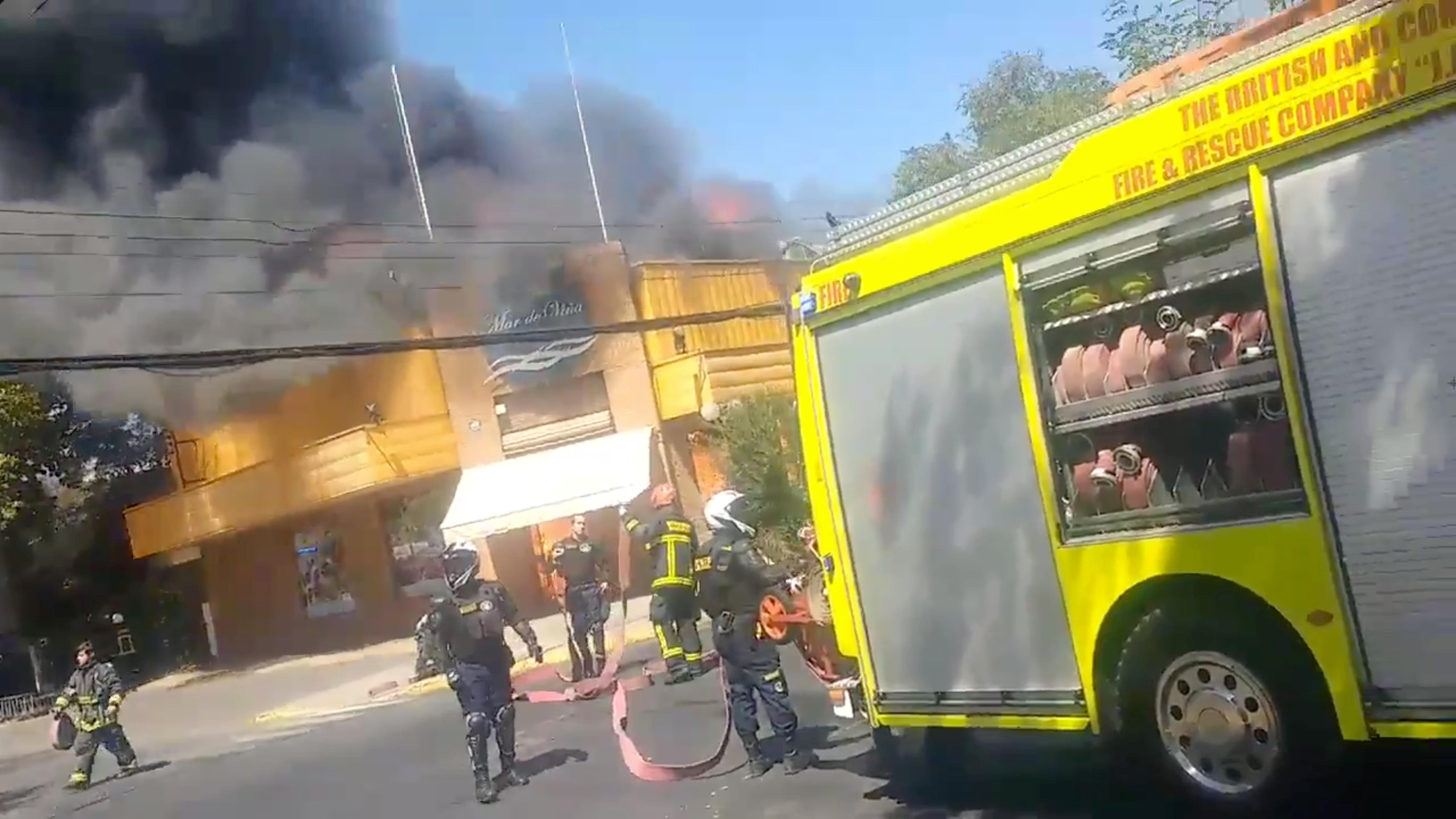 حريق بأحد المطاعم فى تشيلى