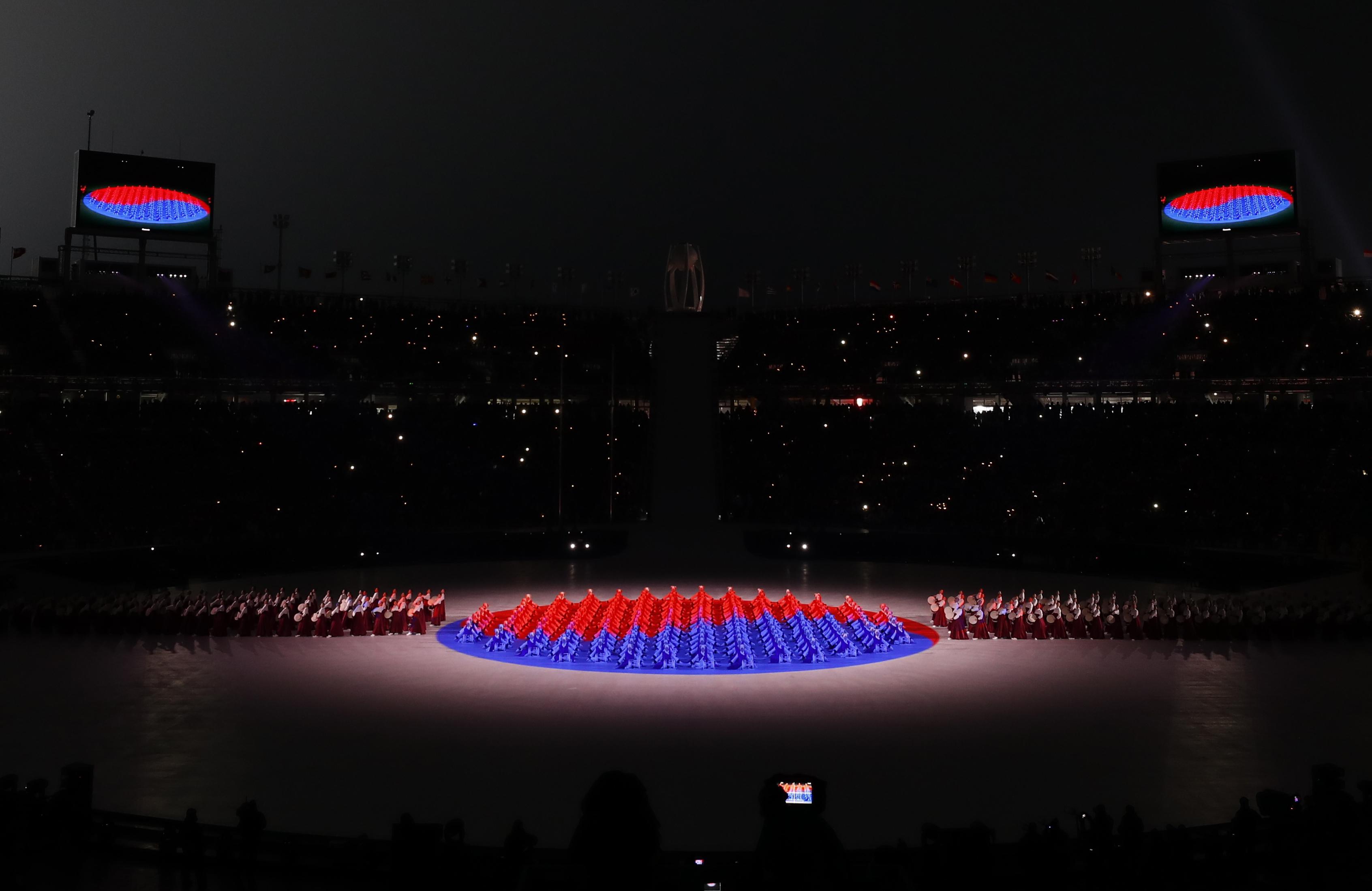 تشكيل ضوئى لعلم كوريا الشمالية