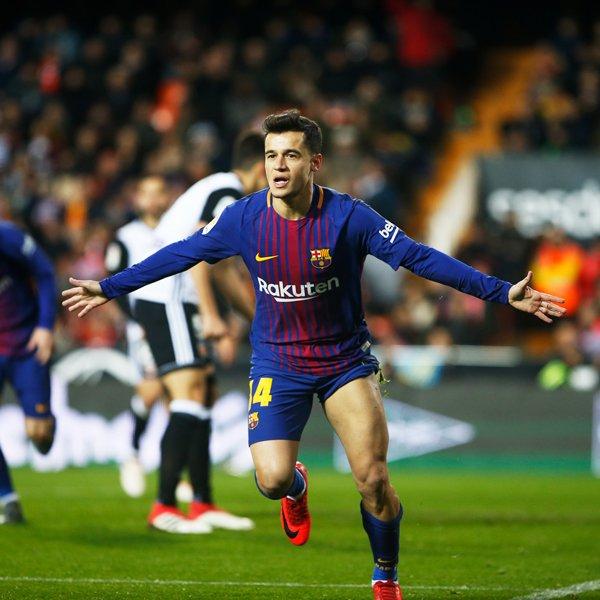 كوتينيو يسجل أول أهداف برشلونة