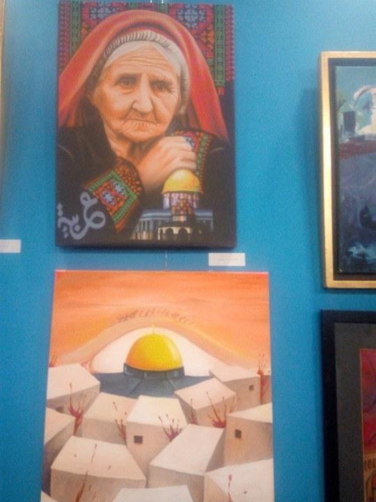 حاتم ربيع يفتتح معرض فلسطين عربية إبدية (2)