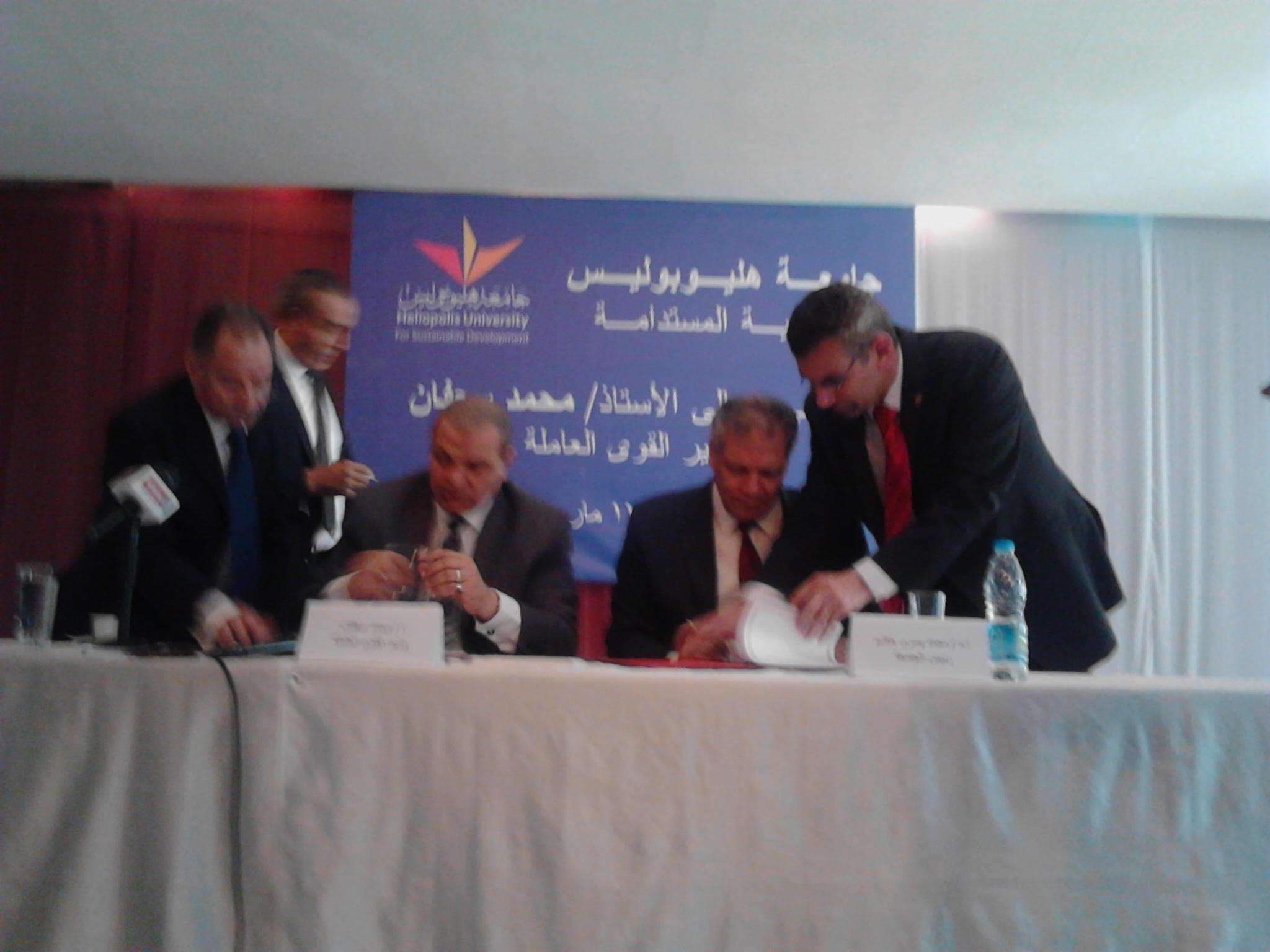 توقيع بروتوكولى تعاون بين القوى العاملة وجامعة هوليوبوليس  (1)