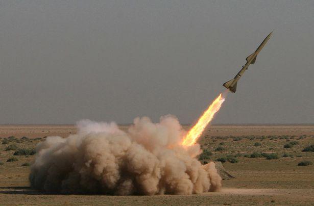 Iranian short-range missile (Tondar) is test-launched during war games in Qom