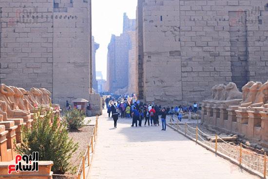 السياح يستمتعون بسحر معابد الكرنك