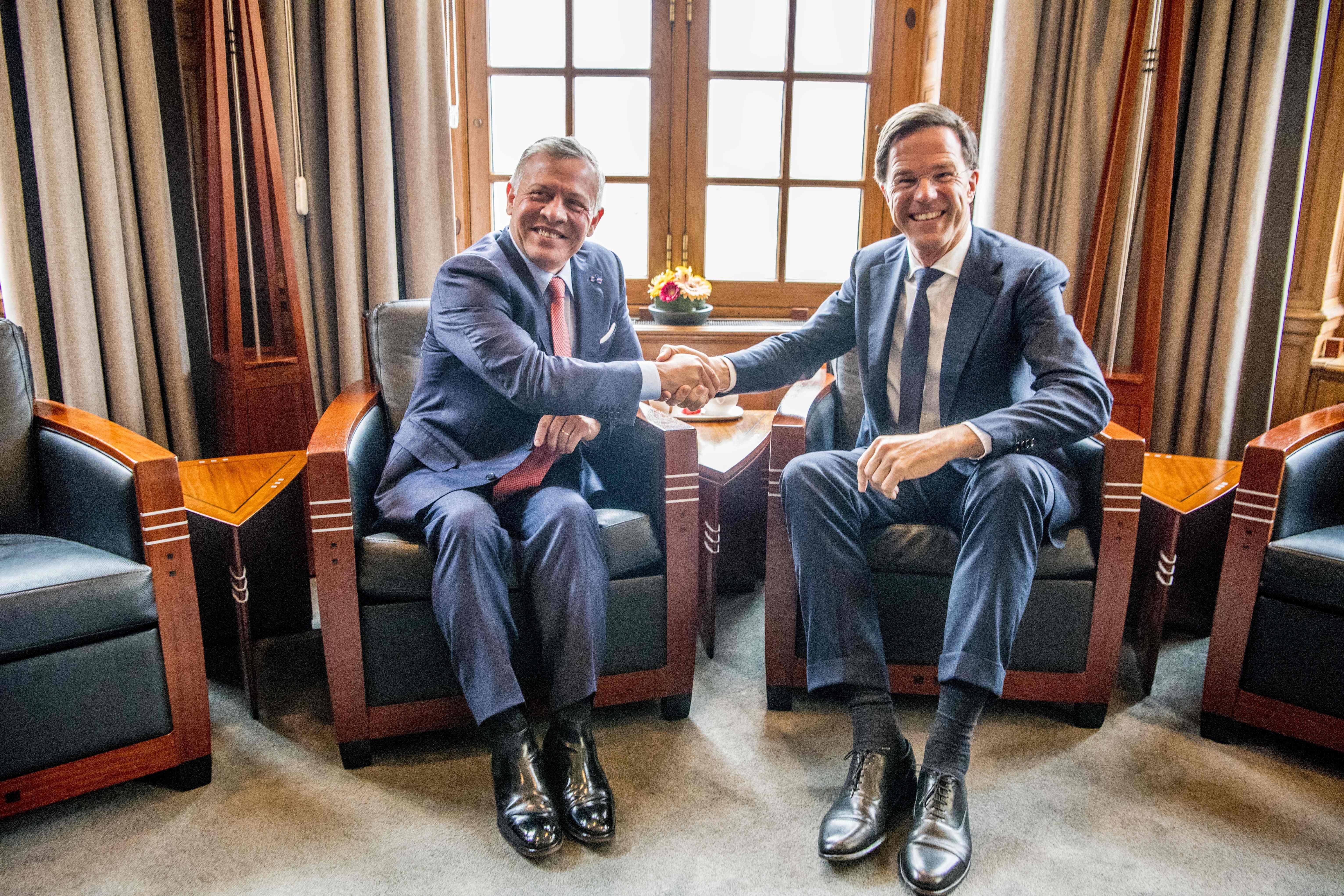 رئيس الوزراء الهولندي مع ملك الأردن