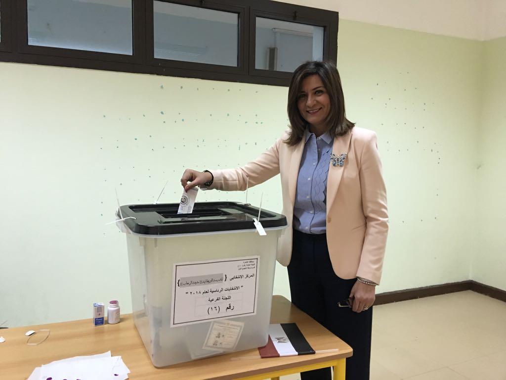 وزيرة الهجرة تدلي بصوتها في الانتخابات الرئاسية  (1)