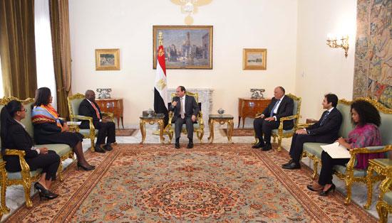 الرئيس السيسي خلال استقباله اليوم إبراهيم جمبارى وزير خارجية نيجيريا الأسبق (2)