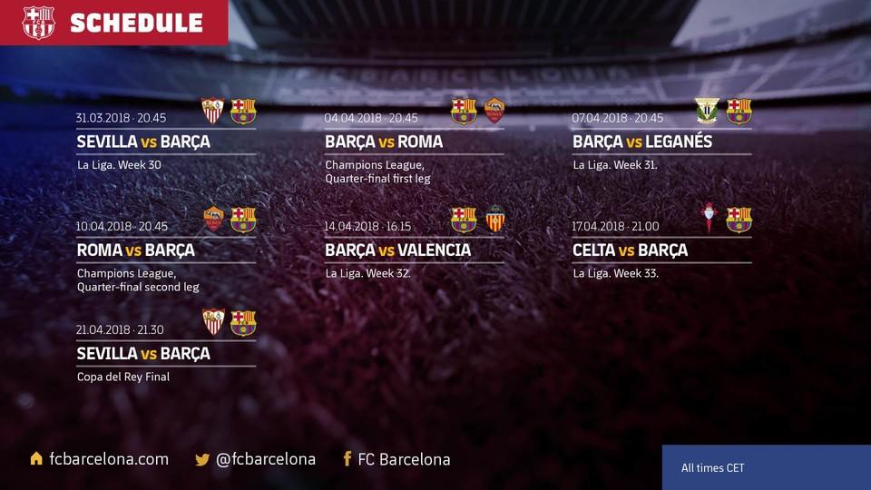 مباريات برشلونة فى شهر أبريل