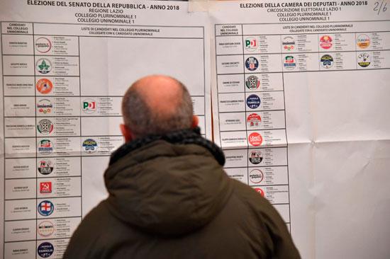 ناخب تطلع على اللوحة الإرشادية للانتخابات فى إيطاليا