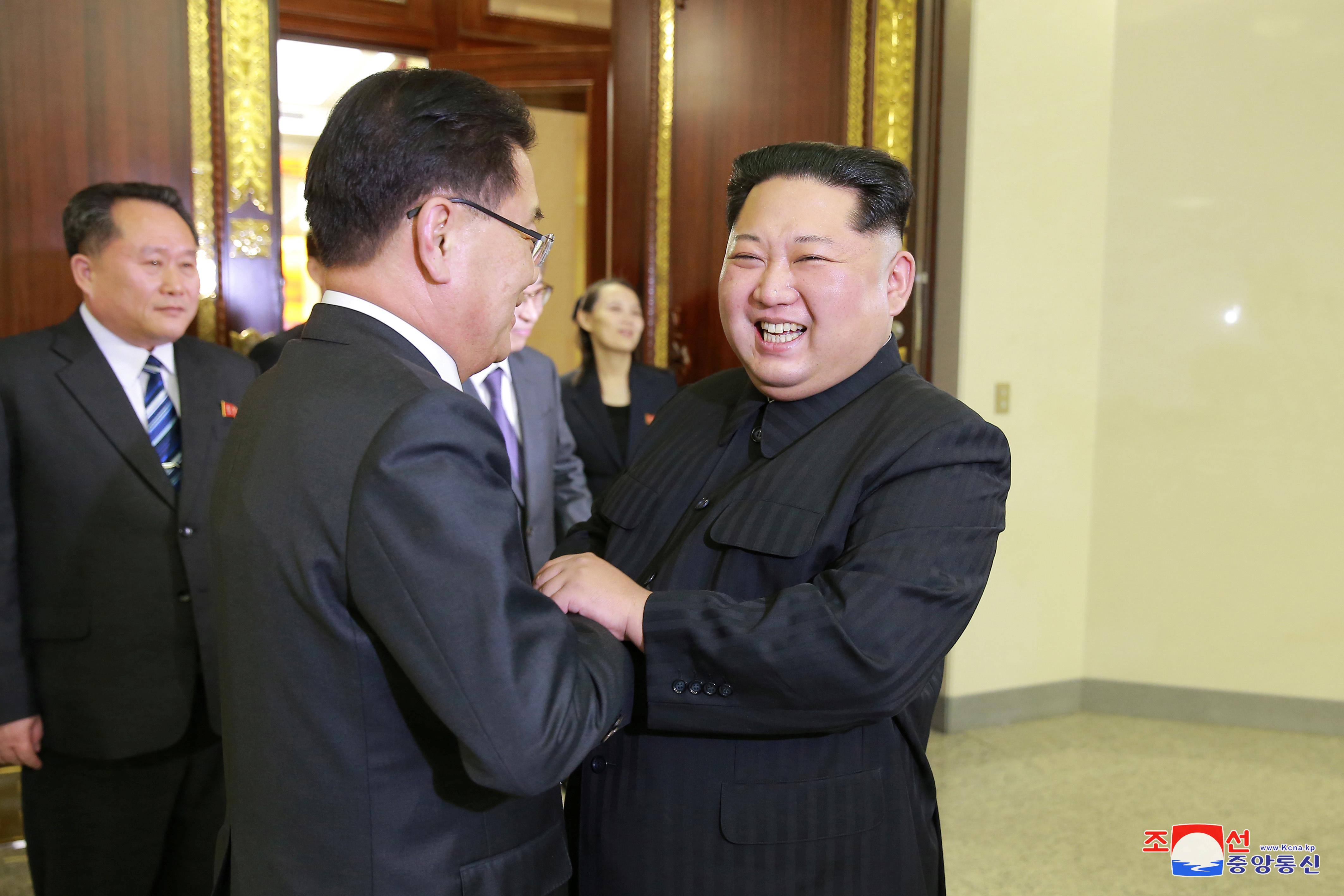 زعيم كوريا الشمالية يبتسم أثناء لقاؤه بأحد أعضاء وفد كوريا الجنوبية