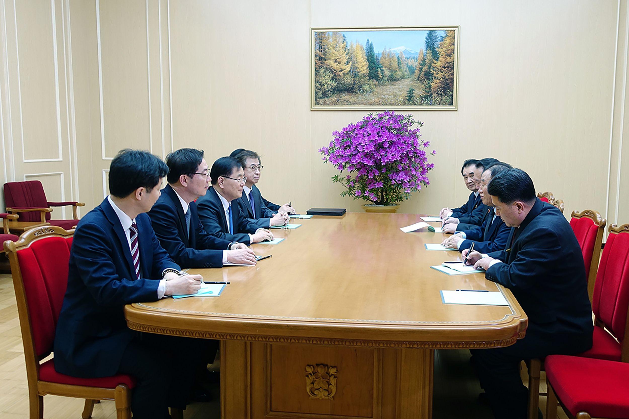 لقاء وفدى كوريا الشمالية والجنوبية