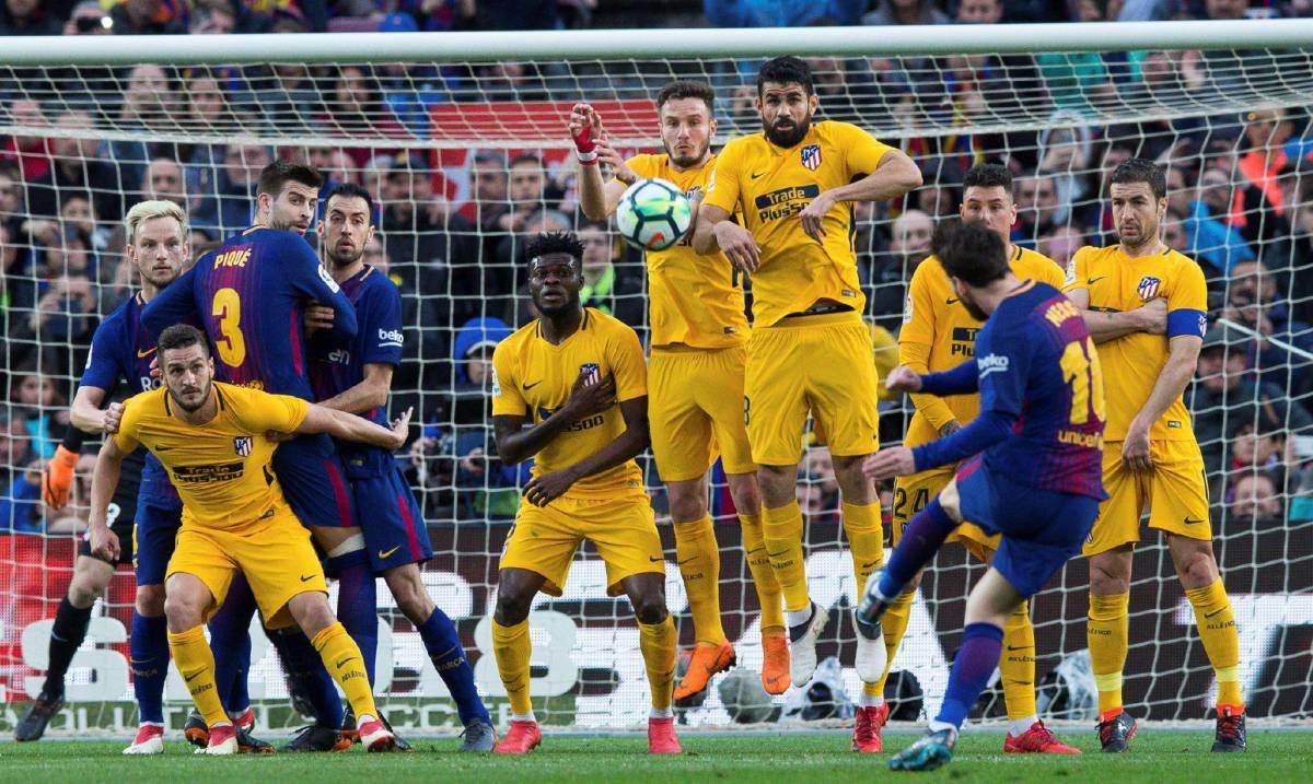 ميسي لحظة تسجيل الهدف في اتلتيكو مدريد
