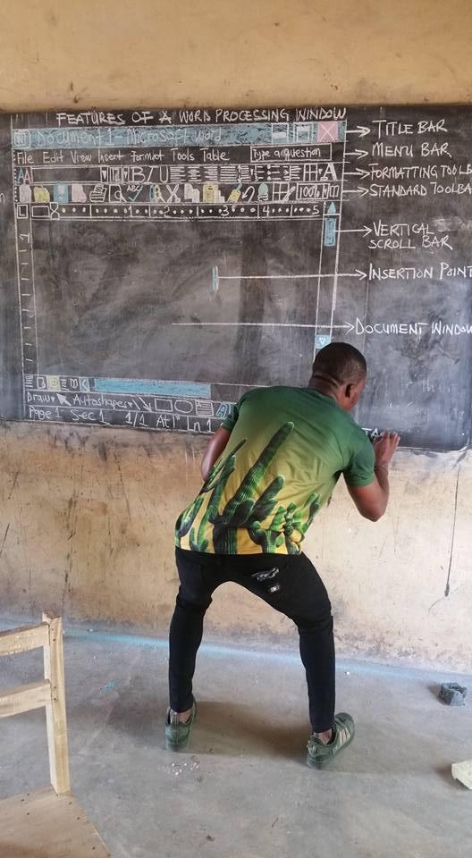 المعلم يقوم بشرح الدرس