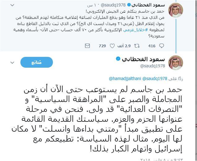 تغريدات سعود القحطانى