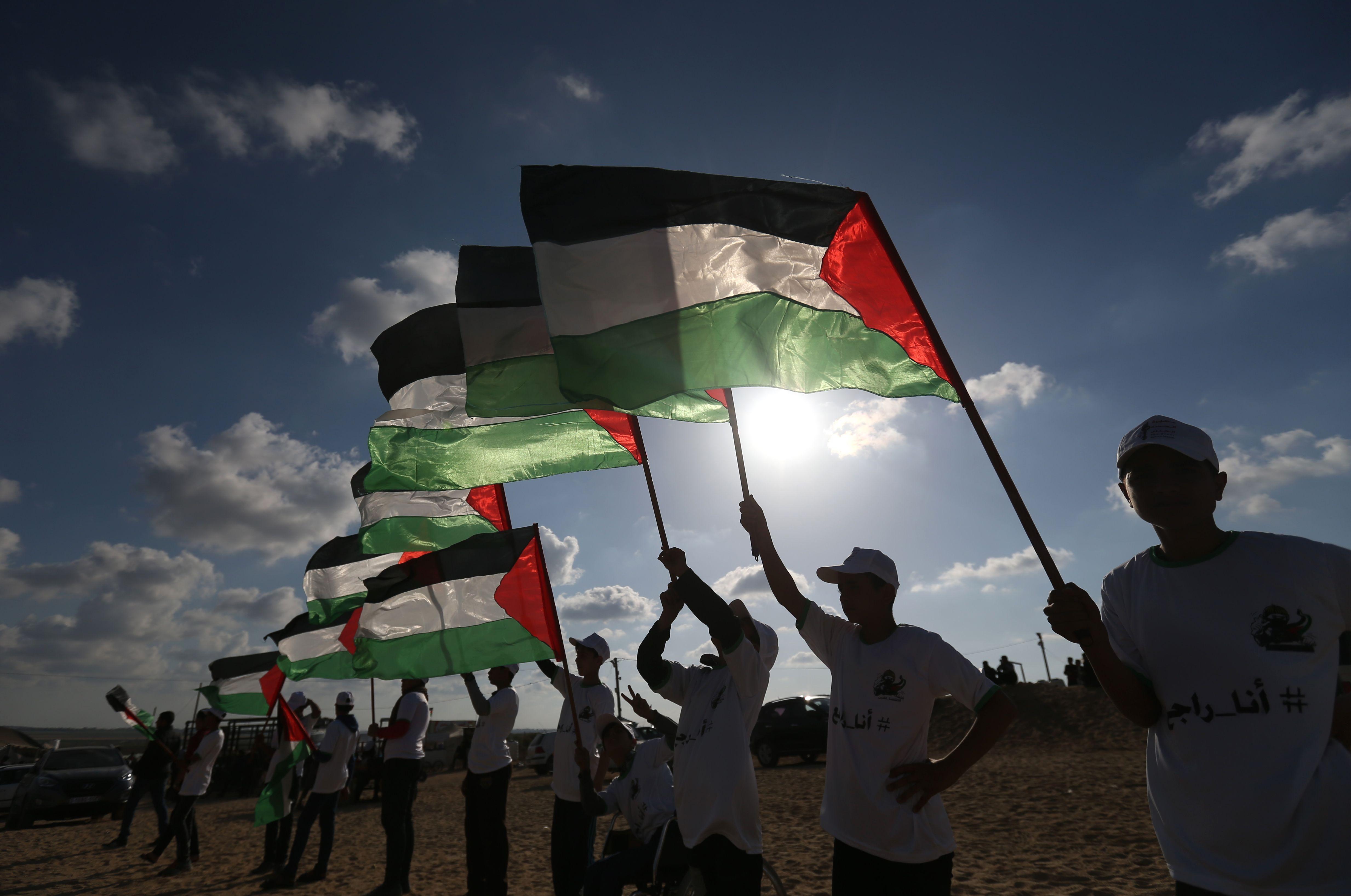 فلسطينيون يشاركون بجمعة الأعلام