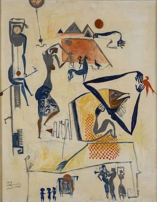 لوحة الرقص والاهرامات لحامد ندا