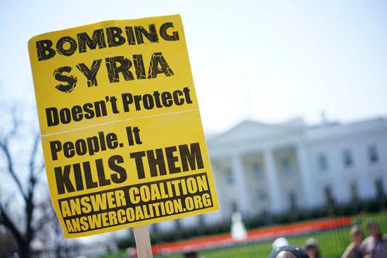 لافتات ضد الحرب فى سوريا