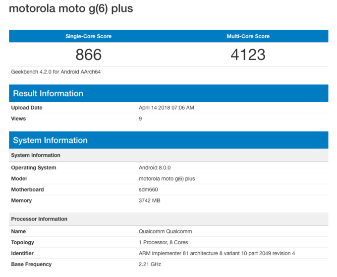 مواصفات هاتف Moto G6 Plus