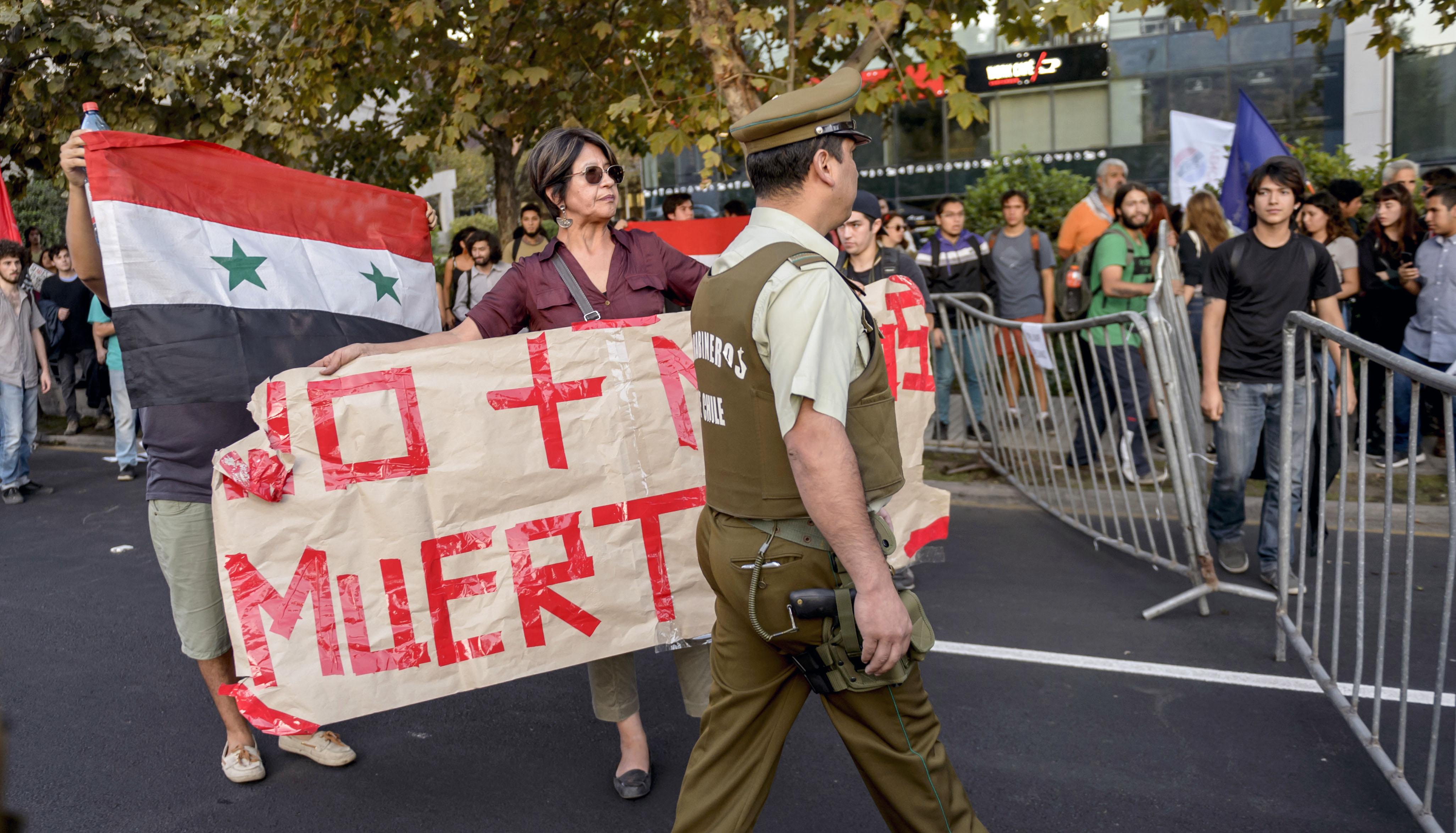 جانب من الاحتجاجات ضد العدوان على سوريا