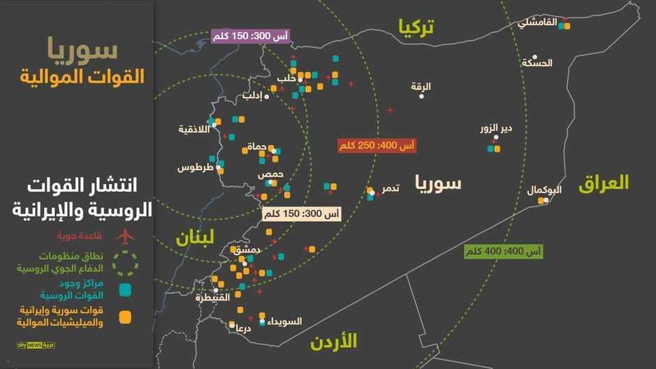 مناطق انتشار القوات الأجنبية الموالية للنظام السورى