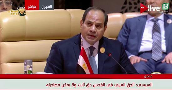 جانب من كلمة الرئيس السيسى فى القمة العربية الـ29