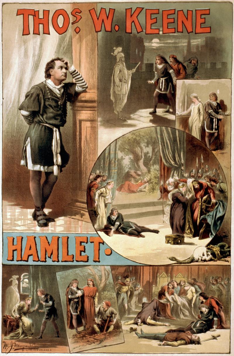 بوستر مسرحية هاملت للكاتب وليام شكسبير إنتاج عام 1884