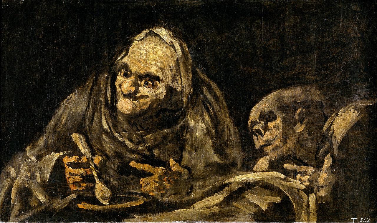 عجوزان يأكلان الحساء
