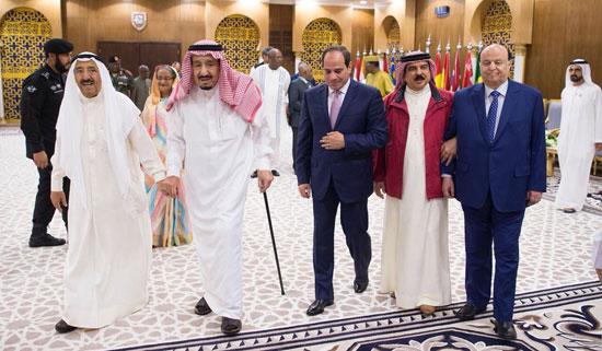 الملك سلمان والرئيس السيسى وأمير الكويت ورئيس اليمن وملك البحرين