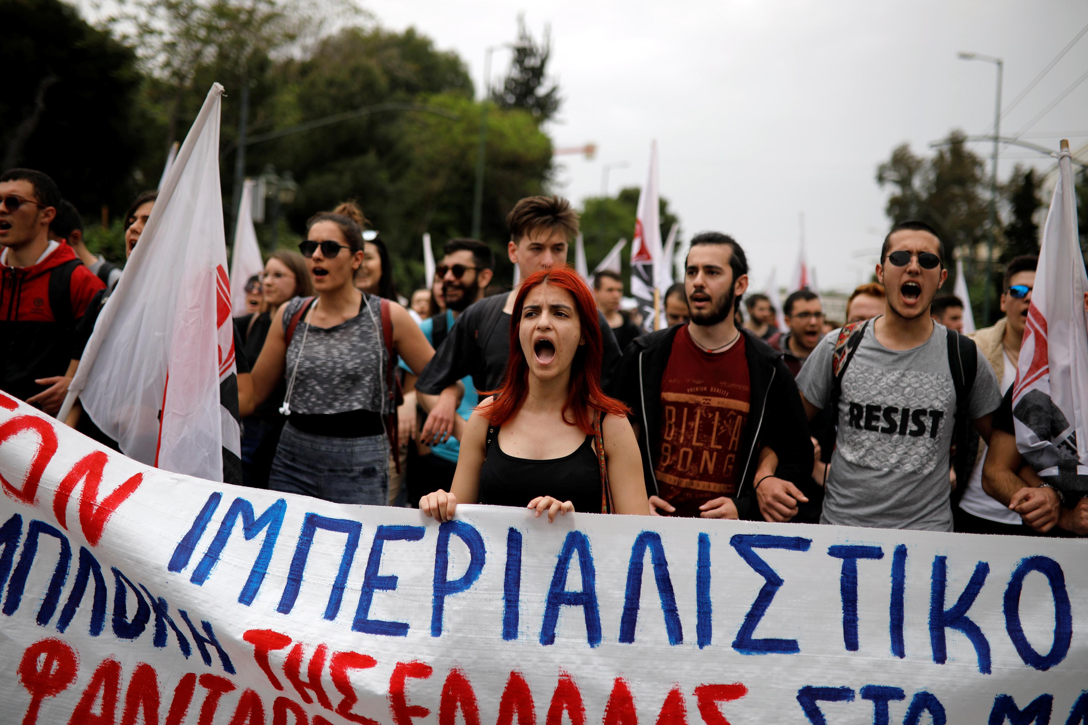 مظاهرات فى اليونان دعما لسوريا