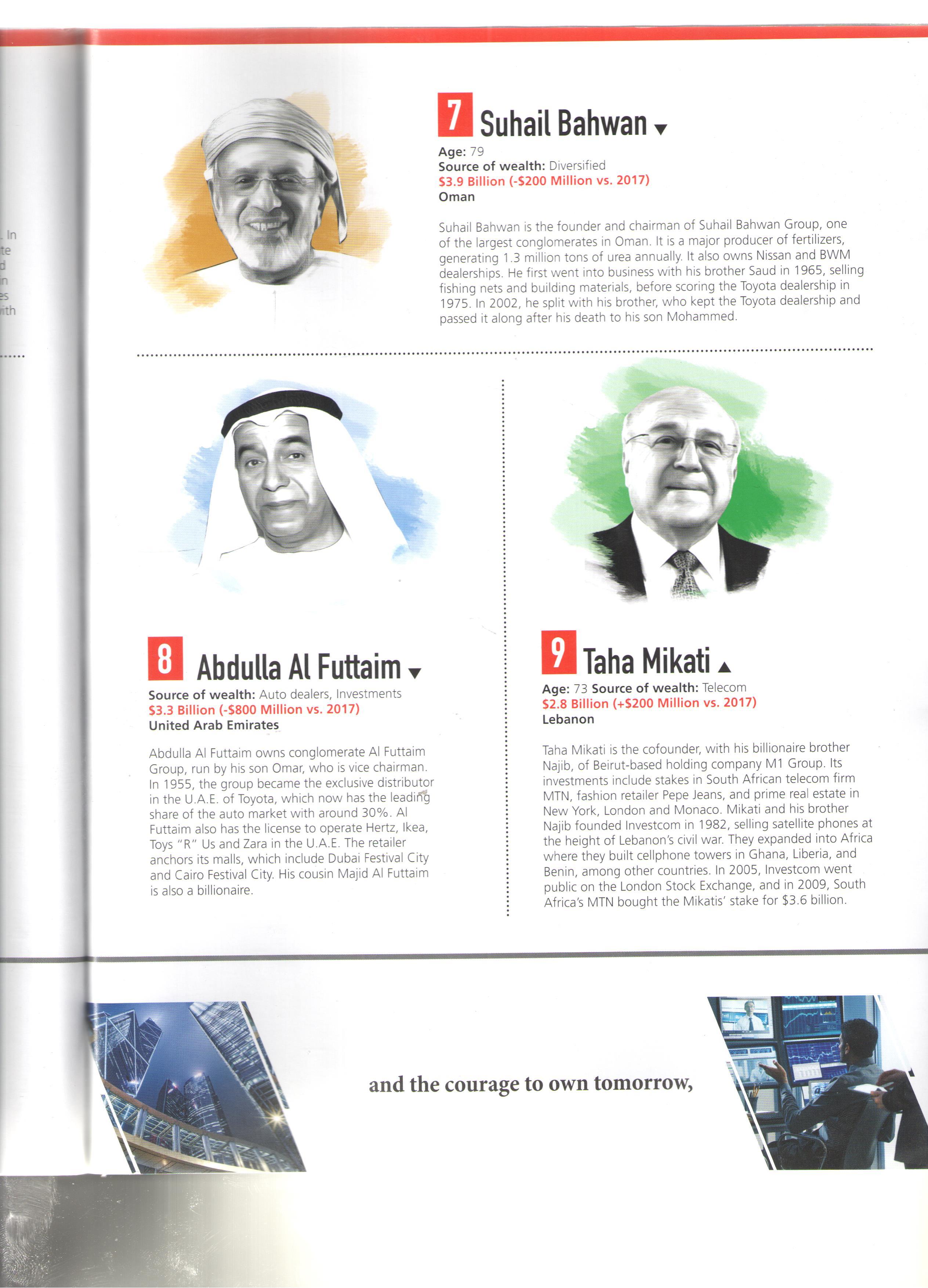تصنيف فوربس لأثرياء العرب فى 2018