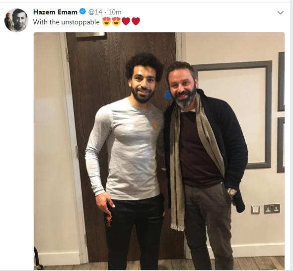 """حازم إمام ينشر صورة مع محمد صلاح: """"لا يمكن إيقافه"""""""