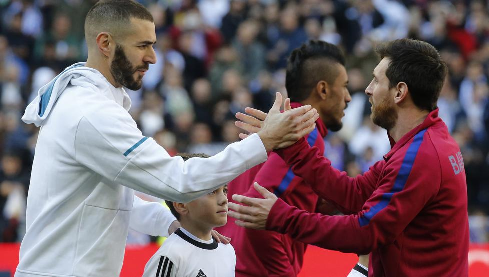 بنزيما مهاجم ريال مدريد مع ميسي